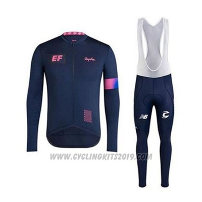 2020 Cycling Jersey EF Education First-drapac Dark Blue Long Sleeve and Bib Tight
