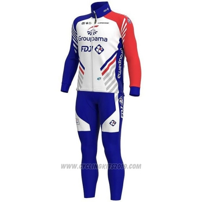 2020 Cycling Jersey Groupama-fdj White Deep Blue Red Long Sleeve and Bib Tight