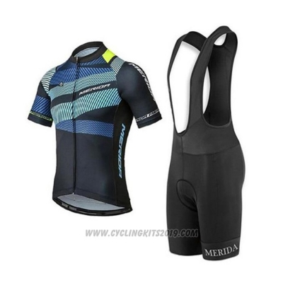 2020 Cycling Jersey Merida Black Blue Short Sleeve and Bib Short