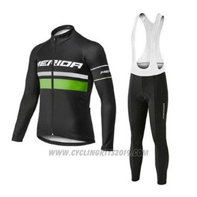 2020 Cycling Jersey Merida Black Green Long Sleeve and Bib Tight
