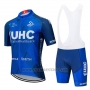2020 Cycling Jersey UHC Dark Blue Short Sleeve and Bib Short