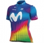 2020 Cycling Jersey Women Movistar Multicolore Short Sleeve and Bib Short