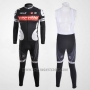 2010 Cycling Jersey Castelli Cervelo White and Black Long Sleeve and Bib Tight