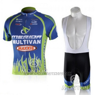 2010 Cycling Jersey Merida Blue and Green Short Sleeve and Bib Short
