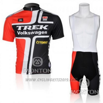 2010 Cycling Jersey Trek Black and Red Short Sleeve and Bib Short