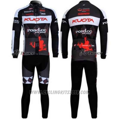 2011 Cycling Jersey Kuota Black and Gray Long Sleeve and Bib Tight