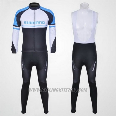 2011 Cycling Jersey Shimano Blue and White Long Sleeve and Bib Tight