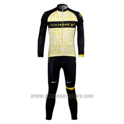 2012 Cycling Jersey Livestrong Yellow Long Sleeve and Bib Tight