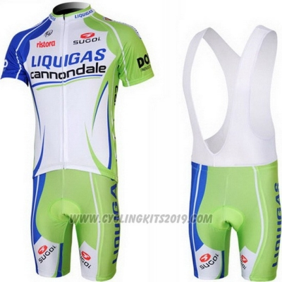 2013 Cycling Jersey Liquigas Cannondale White and Green Short Sleeve and Bib Short