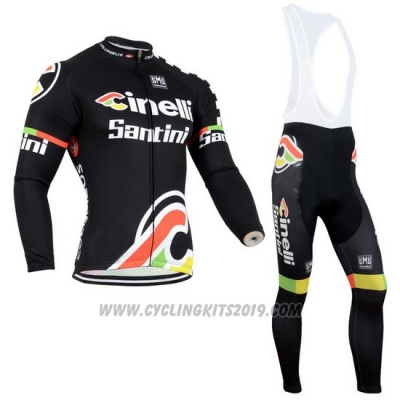 2014 Cycling Jersey Cinelli Santini Black Long Sleeve and Bib Tight
