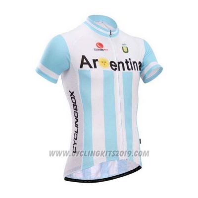 2014 Cycling Jersey Fox Cyclingbox White and Sky Blue Short Sleeve and Bib Short