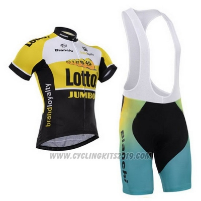 2015 Cycling Jersey Lotto NL Jumbo Black and Yellow Short Sleeve and Bib Short