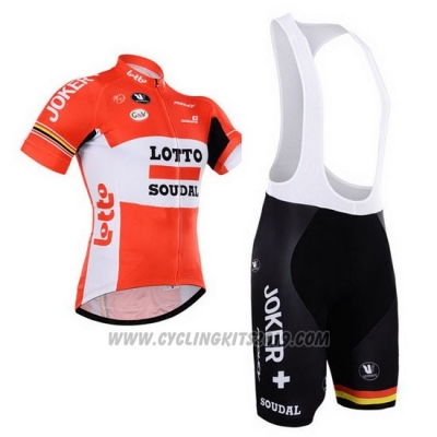 2015 Cycling Jersey Lotto Soudal White Red Short Sleeve and Bib Short
