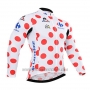 2015 Cycling Jersey Tour de France White and Red Long Sleeve and Bib Tight