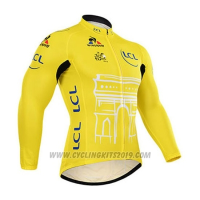 2015 Cycling Jersey Tour de France Yellow Long Sleeve and Bib Tight