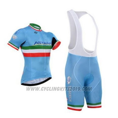 2016 Cycling Jersey Astana Italy Blue and Green Short Sleeve and Bib Short