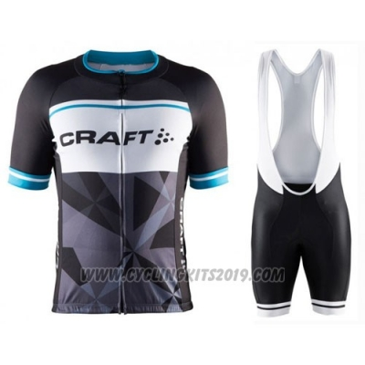 2016 Cycling Jersey Craft Blue and Black Short Sleeve and Bib Short