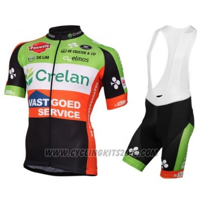 2016 Cycling Jersey Crelan AA Red and Green Short Sleeve and Bib Short