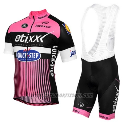 2016 Cycling Jersey Etixx Quick Step Pink and Black Short Sleeve and Bib Short