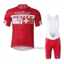 2016 Cycling Jersey Scott White and Red Short Sleeve and Salopette