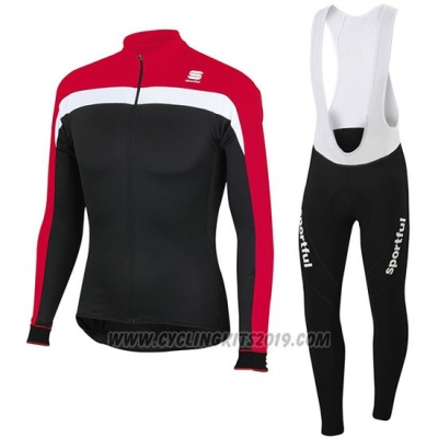 2016 Cycling Jersey Sportful Black and Red Long Sleeve and Bib Tight