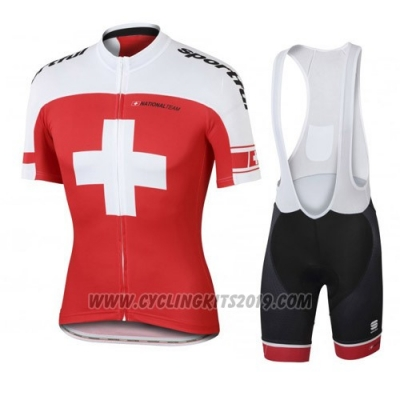 2016 Cycling Jersey Switzerland White and Red Short Sleeve and Bib Short