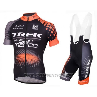 2016 Cycling Jersey Trek Selle San Marco Black and Orange Short Sleeve and Bib Short