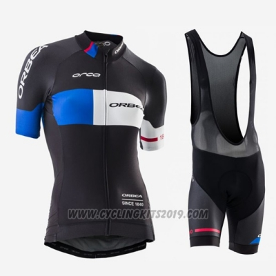 2016 Cycling Jersey Women Orbea Blue and Black Short Sleeve and Bib Short