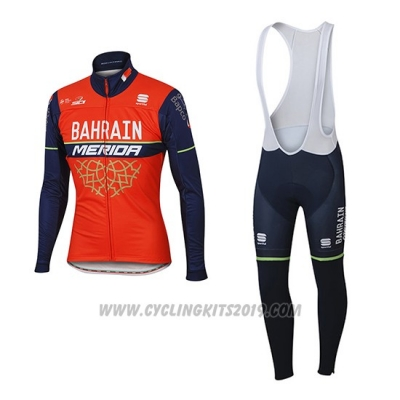 2017 Cycling Jersey Bahrain Merida Red Long Sleeve and Bib Tight