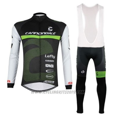 2017 Cycling Jersey Cannondale Black and White Long Sleeve and Bib Tight