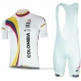 2017 Cycling Jersey Colombia White Short Sleeve and Bib Short