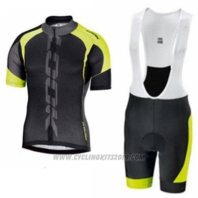 2017 Cycling Jersey Look Black and Green Short Sleeve and Bib Short