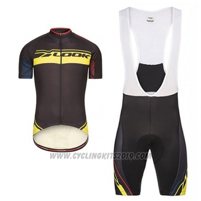 2017 Cycling Jersey Look Pro Equipo Black and Yellow Short Sleeve and Bib Short