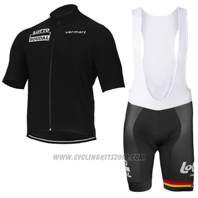 2017 Cycling Jersey Lotto Soudal Black Short Sleeve and Bib Short