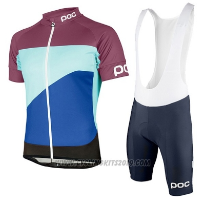 2017 Cycling Jersey POC Fondo Elements Blue and Fuchsia Short Sleeve and Bib Short