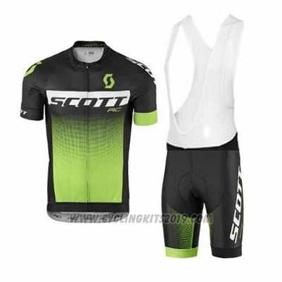2017 Cycling Jersey Scott Green Short Sleeve and Salopette