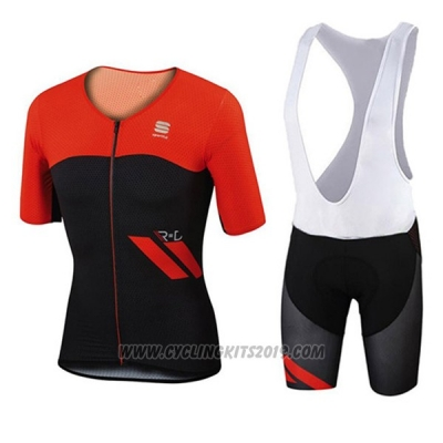 2017 Cycling Jersey Sportful Red and Black Short Sleeve and Bib Short