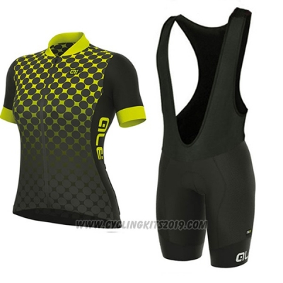 2017 Cycling Jersey Women ALE Excel Bolas Black and Yellow Short Sleeve and Bib Short