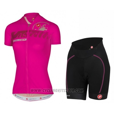 2017 Cycling Jersey Women Castelli Pink Short Sleeve and Bib Short