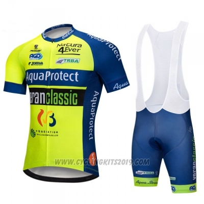 2018 Cycling Jersey Aquaproject Yellow Green Short Sleeve and Bib Short