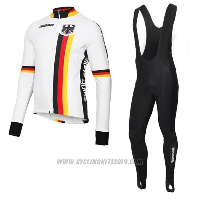 2018 Cycling Jersey Belgium White Long Sleeve and Bib Tight