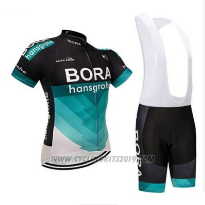 2018 Cycling Jersey Bora Black and Teal Short Sleeve and Bib Short