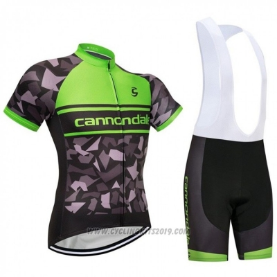2018 Cycling Jersey Cannondale Green and Black Short Sleeve and Bib Short