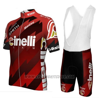 2018 Cycling Jersey Cinelli Chrome Dark and Red Short Sleeve and Bib Short