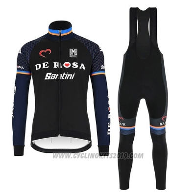 2018 Cycling Jersey De Pink Black Long Sleeve and Bib Tight