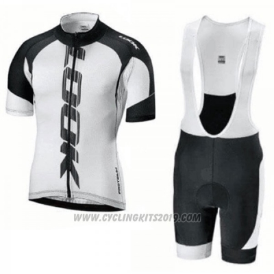 2018 Cycling Jersey Look Black White Short Sleeve and Bib Short