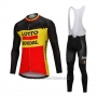 2018 Cycling Jersey Lotto Soudal Black and Yellow Long Sleeve and Bib Tight