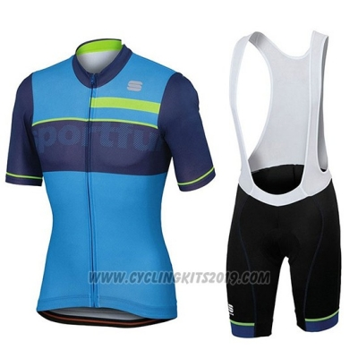 2018 Cycling Jersey Sportful Blue Short Sleeve and Bib Short