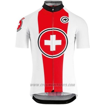 2018 Cycling Jersey Switzerland Red White Short Sleeve and Bib Short