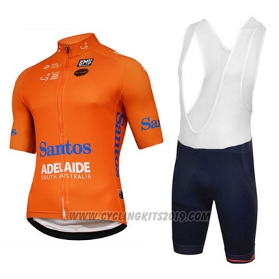 2018 Cycling Jersey Tour Down Under Santos Orange Short Sleeve and Salopette